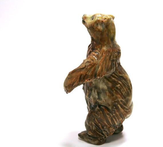 bear figurine- bear person walk - porcelain animal