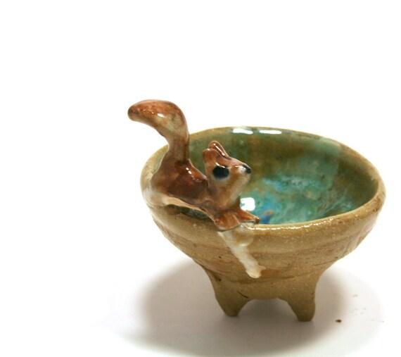 Trinket bowl - frolicking squirrel bowl- miniature ceramic bowl
