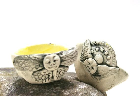 Trinket dish - Like the summer sun - a pair- porcelain bowl
