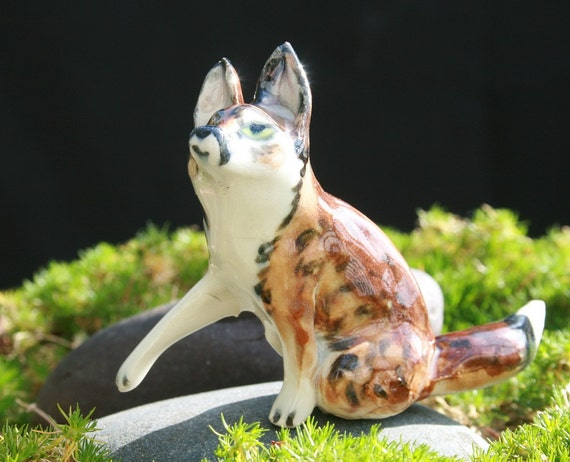 fox figurine - touch the ice - porcelain animal figurine