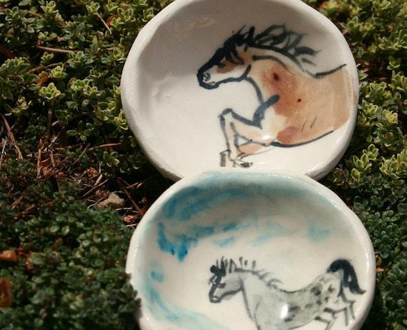 trinket bowls - wild horses - porcelain salt bowl
