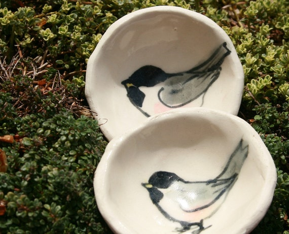 trinket bowls - chickadee pair - porcelain salt bowl
