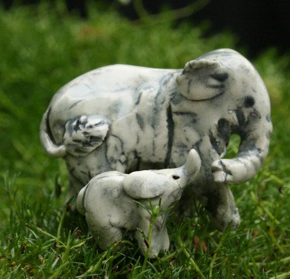 elephant figurine -indian elephant and baby - porcelain animal miniatures