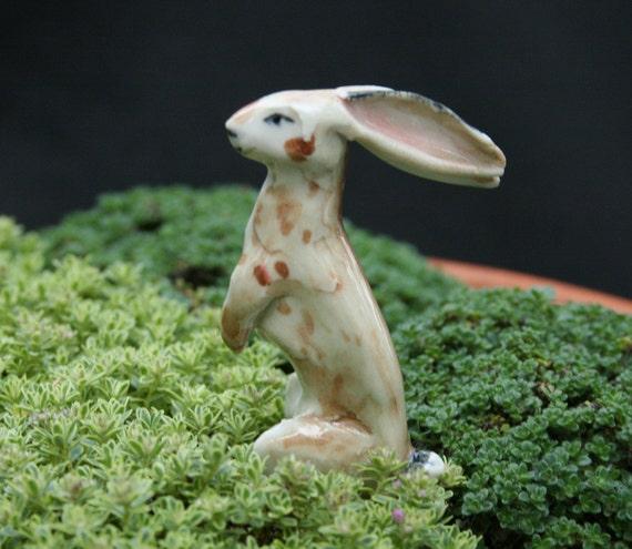 rabbit figurine - standing jack - porcelain animal figurine