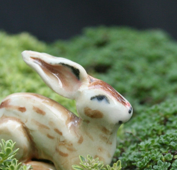 rabbit figurine - resting wild rabbit- porcelain animal figurine