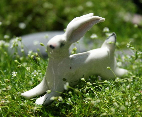 rabbit figurine - running white rabbit -  porcelain animal figurine