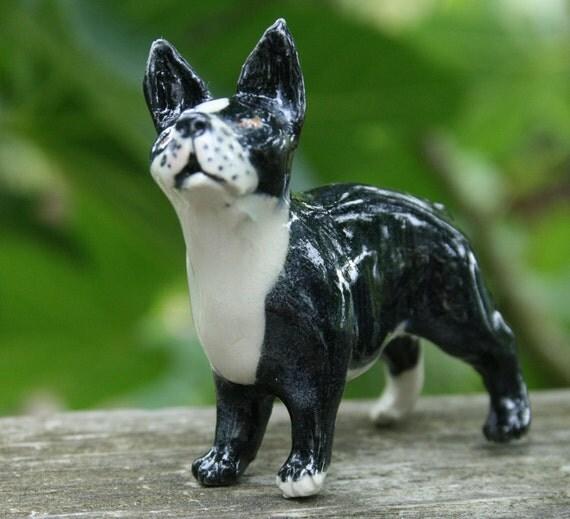dog figurine - boston terrier -  porcelain animal figurine