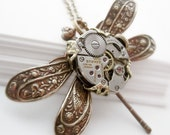 SteamPunk Necklace Vintage Filigree Jewelry Dragonfly