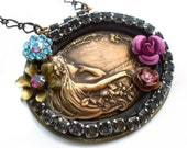 Mucha style necklace with romantic woman assemblage pendant, Federikas reclaimed jewellery
