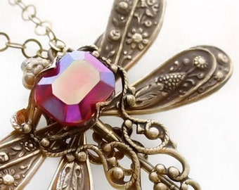 Dragonfly necklace with glass ruby red jewel handset in filigree,  pendant necklace, statement necklace, vintage style dragonfly jewelry