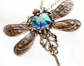 Dragonfly necklace filigree jewelry with vintage blue rhinestone, Art Deco inspired jewelry