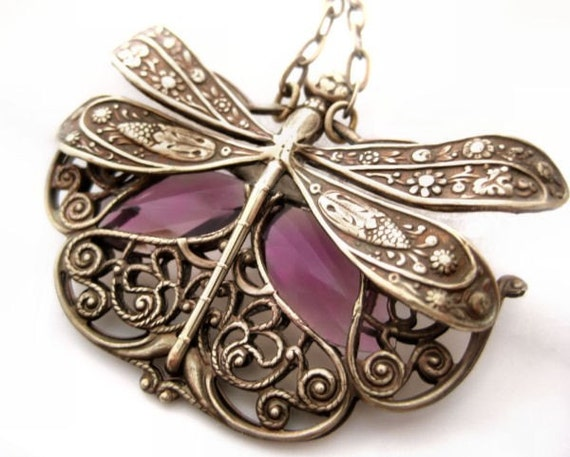 Wings In Motion - Dragonfly necklace Federikas vintage filigree French Art Nouveau plum purple