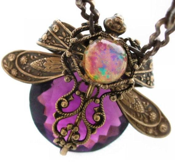 Violet Moon Dragonfly - Vintage Filigree Jewel Original Design Necklace