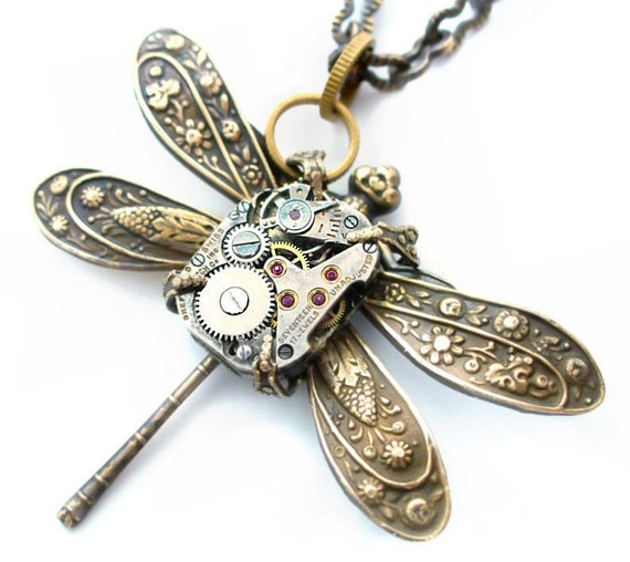 Time Flies - SteamPunk Clockwork Dragonfly Jewelry Art Necklace by Vintage Filigree Jewels