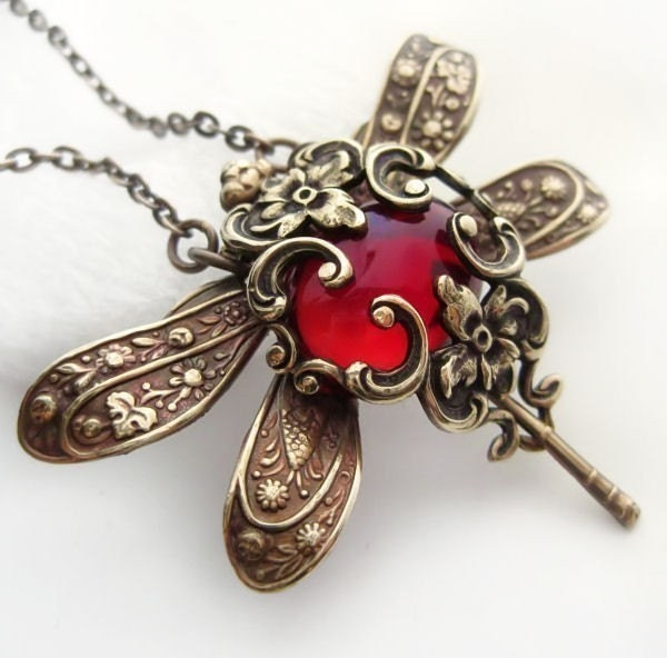 Red Dragonfly Necklace Victorian Style Dragonfly Jewelry
