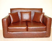 18 Inch Doll Furniture - Sofa - Faux Leather Alligator - Brown  Modern - Handmade