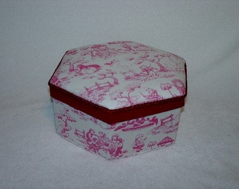 Fabric  Toile Trinket Box Storybook