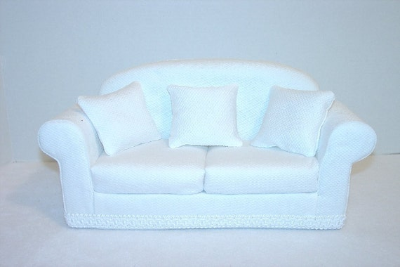 11 1/2 inch Doll Sofa - Couch, White, Handmade  fits Barbie -  Blythe