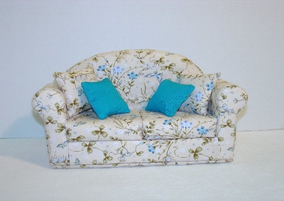 Doll Sofa, Flower Garden, fits Barbie, Blythe and  other 11 1/2 inch dolls