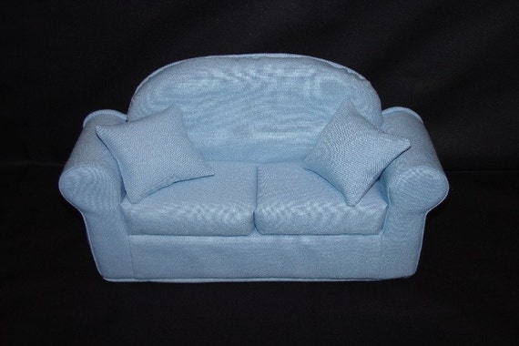 Light Blue Doll Sofa  LInen Look fits Blythe Barbie and other 11 1/2 inch dolls