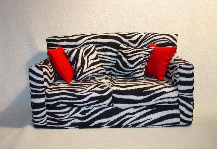 18 Inch Zebra Print Doll Sofa Doll Furniture Handmade
