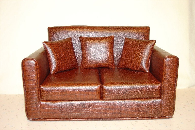 18 Inch Doll Furniture Sofa Faux Leather Alligator Brown