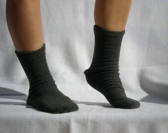 Dark Gray Polar  Fleece Socks or Slippers