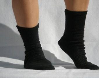Fleece Socks or Slippers 2 Pair Black