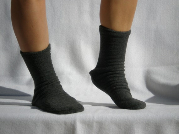Dark Gray Polar  Fleece Socks or Slippers