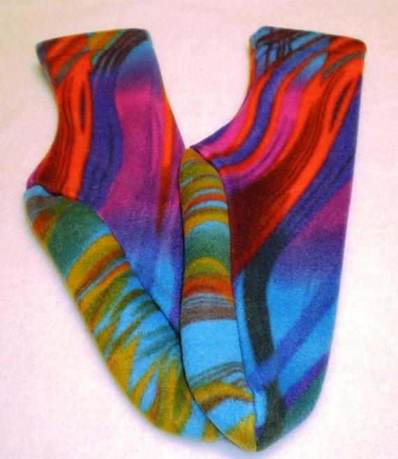 Fleece Socks or Slippers Rainbow Prism Last Pair Sm or Med