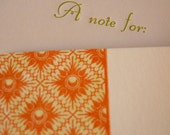 Letterpress Flat Note Card Set  - Orange with Deckle