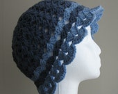Crocheted cloche hat in blue