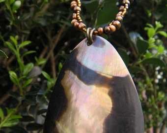Bronze and Abalone Shell Necklace
