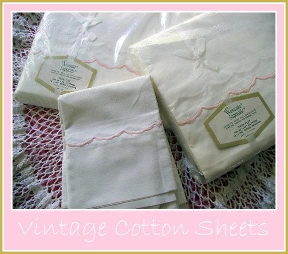 Vintage Wamsutta Crisp White Cotton Sheets And Pillow Cases