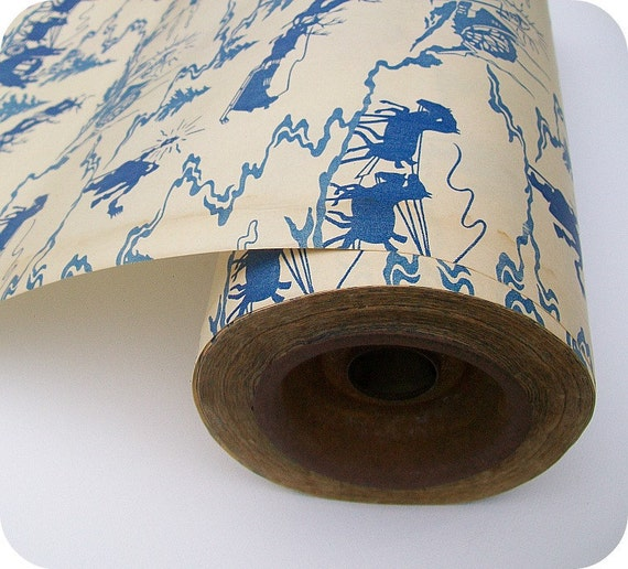 Vintage French Blue and Cream Winter Toile Wrapping Paper