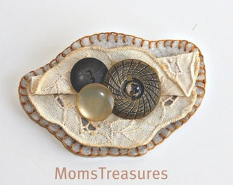 REDUCE PRICE Handmade Cute As A Button Brooch Pin No.04