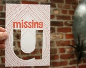 letterpress card missing u die cut