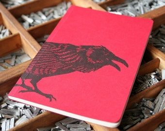 letterpress notebook Crow recycled
