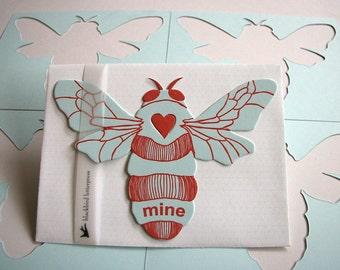letterpress Bee Mine card die cut