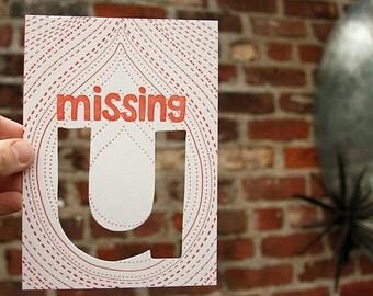 letterpress card missing u die cut