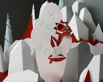 Letterpress Yeti holiday card