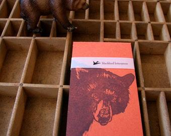 letterpress notebook bear linocut