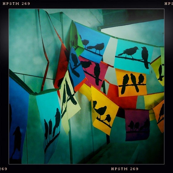 blackbird flags in warm colors-strand of ten