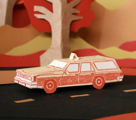 letterpress card DIY Station Wagon