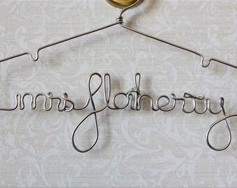 Personalized Wire Hanger, Bridal Hanger, Wedding Name Hanger, Bridal Custom Dress The Original By LilaFrances Silver Lingerie Hanger