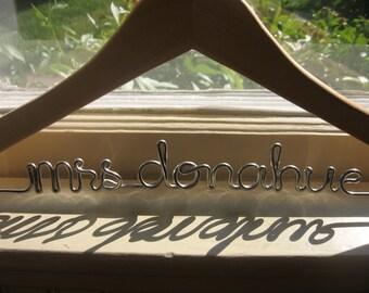 Personalized Gift Bridal Dress Hanger Wedding Custom Hanger Oak Sturdiest Wire