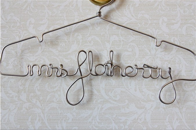 Wire Photo Hanger personalized wire hanger bridal hanger wedding name hanger