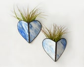 Stained glass Sconce -Air Plant Holder - Blue stripe