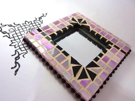 Pink and Black Mosaic Mirror