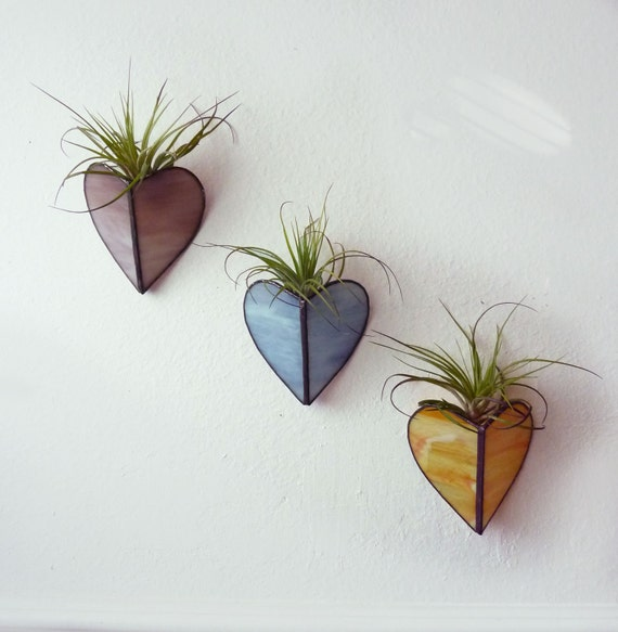 Stained glass Sconce -Air Plant Holder - Trio